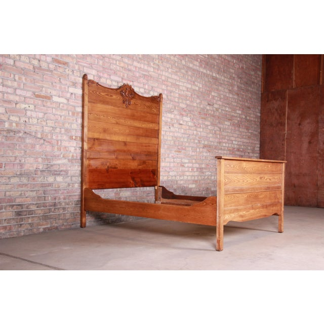 Victorian Antique Carved Oak Full Size Bed, Circa 1900 For Sale - Image 3 of 9