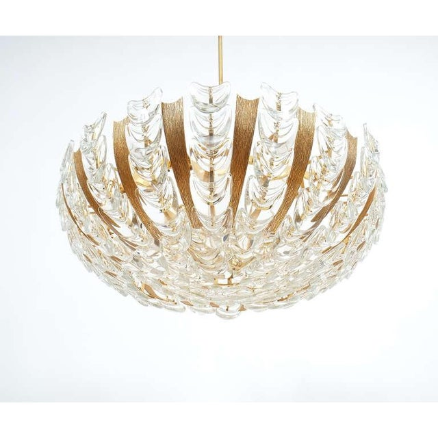 1960s Palwa Large Gold Brass and Glass Chandelier Lamp, 1960 For Sale - Image 5 of 10