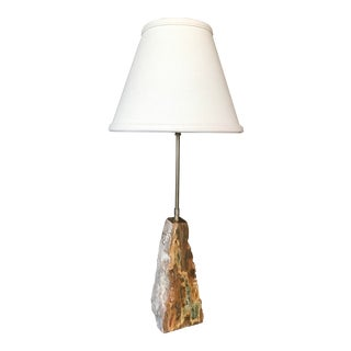 Vintage Quarry Style French Onyx Stone Lamp With Shade For Sale