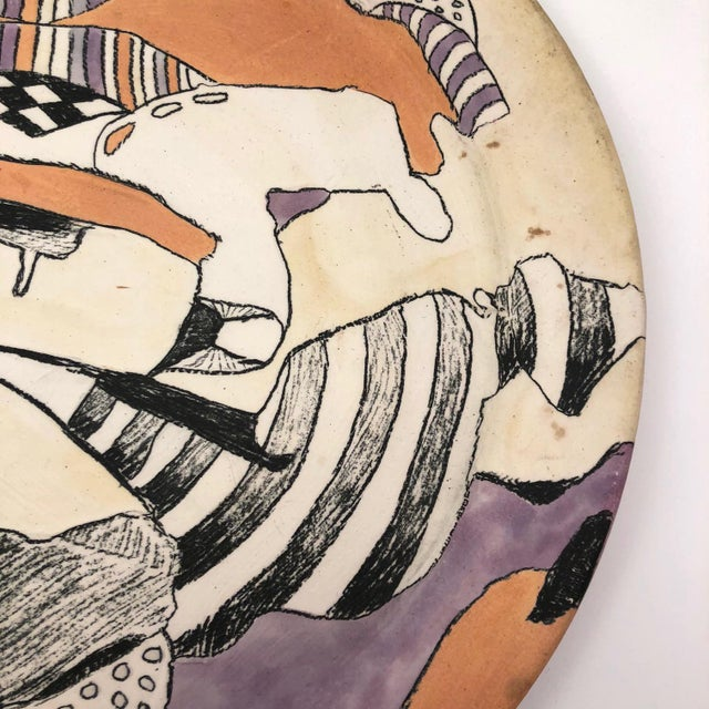 Ceramic Late 20th Century Vintage Abstract Hand-Painted Decorative Ceramic Platter For Sale - Image 7 of 10