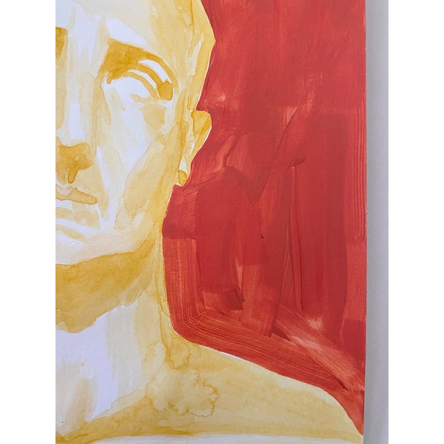 Roman Emperor Trajan Bust Painting, Acrylic on Paper For Sale In Tampa - Image 6 of 8
