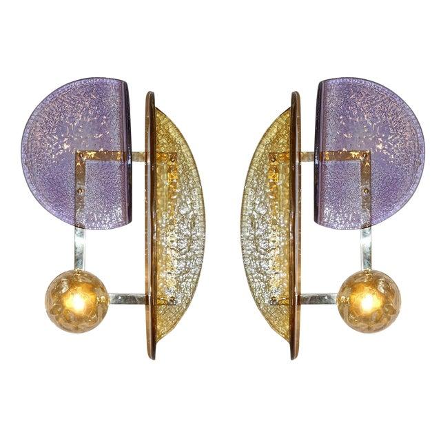 Pair of Murano Glass Geometric Sconces by Fabio Ltd For Sale