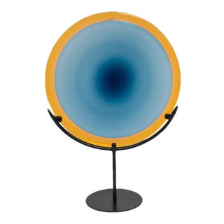 20th Century Abstract Ombre Blue Yellow Surround Art Glass Disc on Stand For Sale