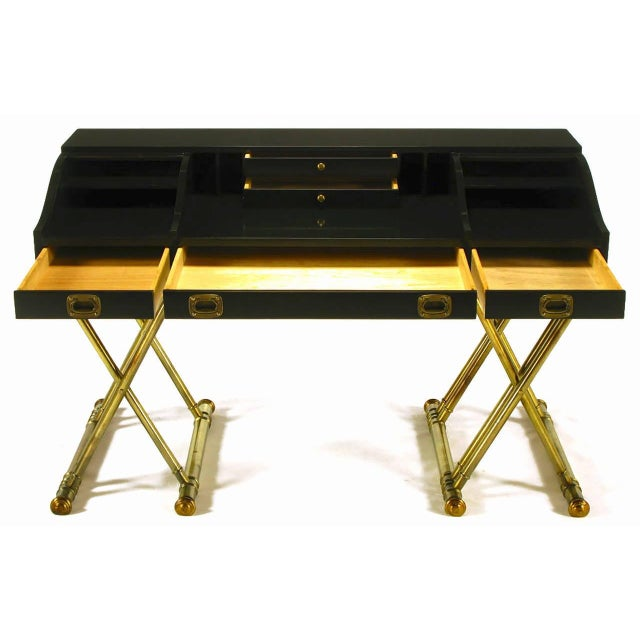 Mid-Century Modern Black Lacquer Brass Faux Bamboo Base Campaign Secretary Roll Top Style Desk For Sale - Image 3 of 7