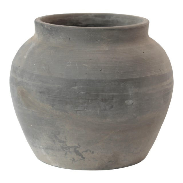 Antique Weathered Matte Gray Clay Pottery Cachepot For Sale