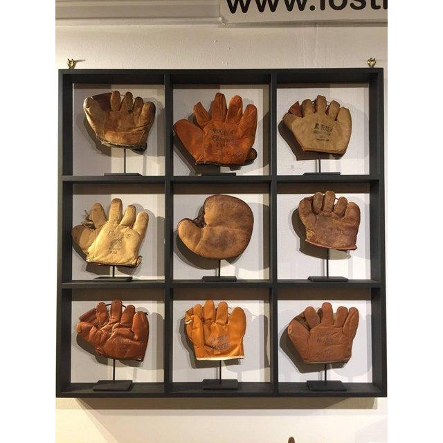 Rare Antique Miniature Children's Set of Nine Custom Framed Baseball Gloves Mitt - Image 7 of 10