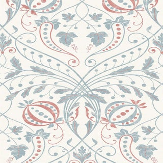 "Lewis & Wood Chateau Sienna Extra Wide 52"" Damask Style Damask Style Wallpaper Sample For Sale"