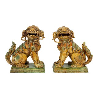 Large Majolica Foo Dogs - A Pair For Sale