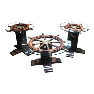 1980s Nautical Wood Ship Wheel Coffee Table Set - 3 Pieces For Sale