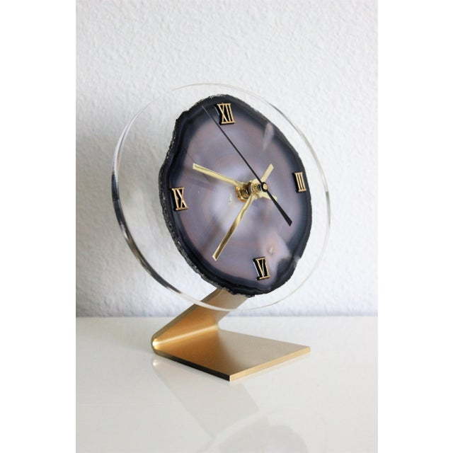 Modern Gray Agate Desk Clock - Image 5 of 8
