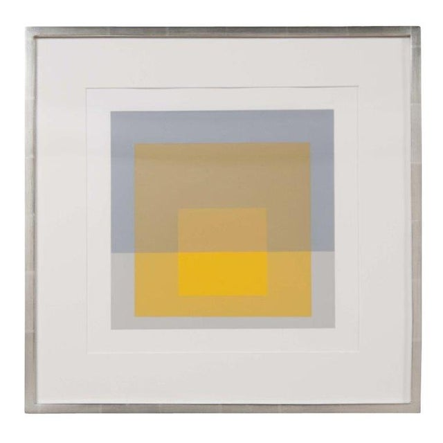 Josef Albers homage to the square from Formulations: Articulation 1972. Silkscreen prints matted in 12 karat white gold...