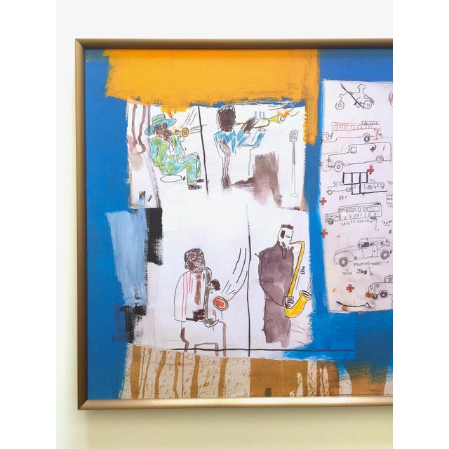 """This Jean Michel Basquiat rare vintage 1997 custom framed offset lithograph fine art print """" Worthy Constituents """" 1986,..."""