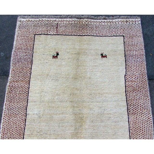 Beige 1970s, Handmade Vintage Persian Gabbeh Rug 3.5' X 4.11' For Sale - Image 8 of 11