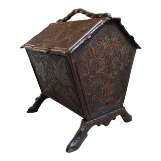 Antique French Carved Oak Black Forest Box Stand Sheet Music Magazine Bookcase For Sale