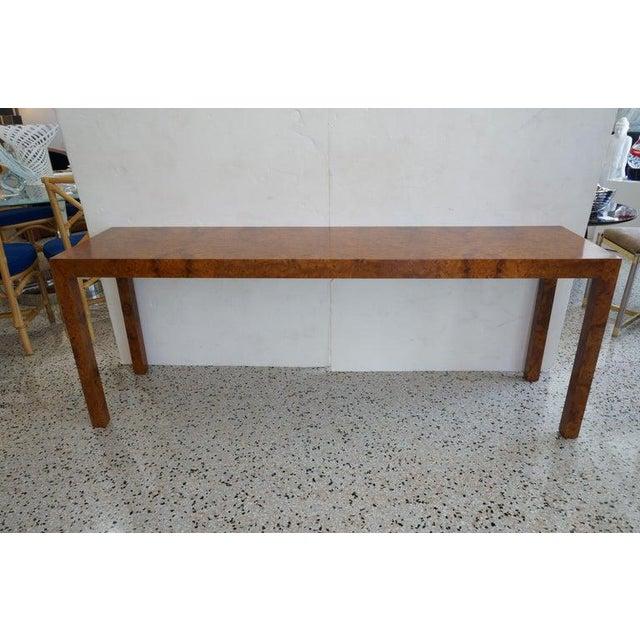 Milo Baughman Mid-Century Modern Milo Baughman Burlwood Console Table For Sale - Image 4 of 10