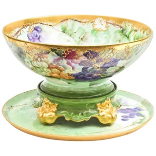 19th Century Limoges Punch Bowl, Stand & Under Tray, Hand Painted Artist Signed For Sale
