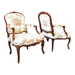 French Louis XV Period Fauteuils - A Pair For Sale