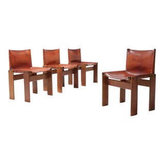 Scarpa 'Monk' Chairs in Patinated Cognac Leather, Set of Four For Sale