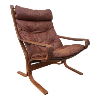 1980s Ingmar Relling for Westnofa Siesta Highback Teak and Leather Lounge Arm Chair For Sale