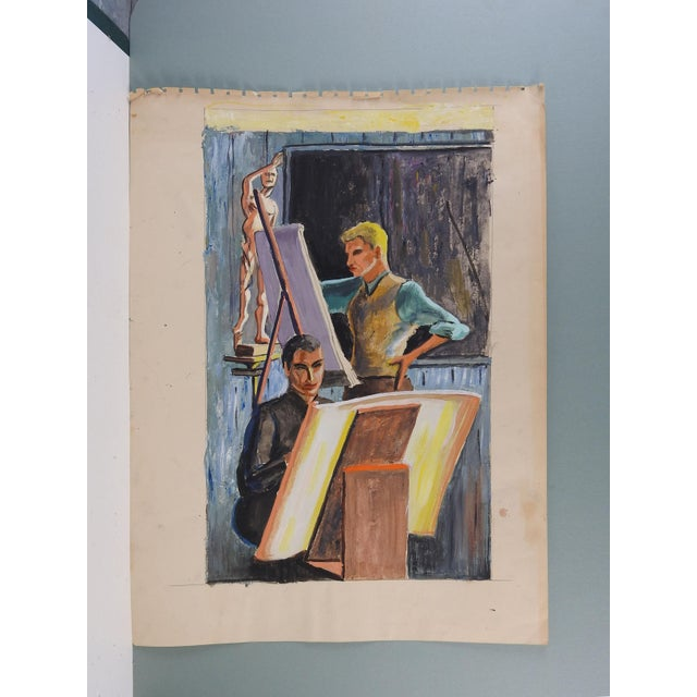 Modernist gouache on paper of students in an art studio by Geneva Flores Hart Fell (1906-2008). Unsigned, circa 1950....