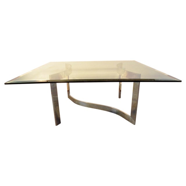 Milo Baughman Style Glass and Chrome Table - Image 1 of 9