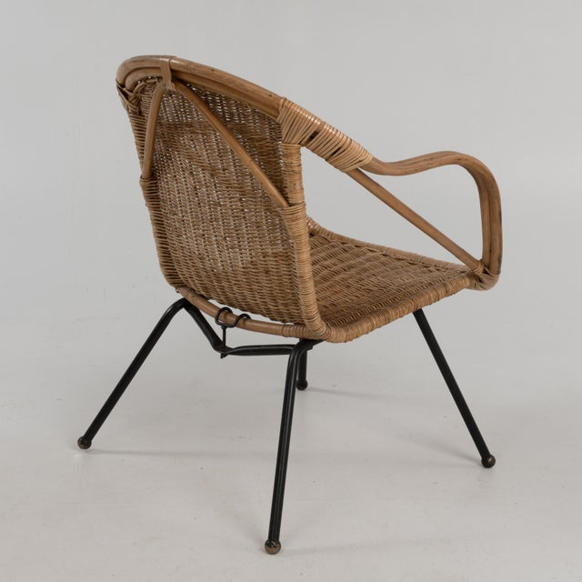 Boho Chic Mid Century Boho Bamboo Rattan Hoop Chair For Sale - Image 3 of 13