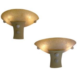 1940 Italian Antique Art Deco Design Scavo Murano Glass Sconces - a Pair For Sale