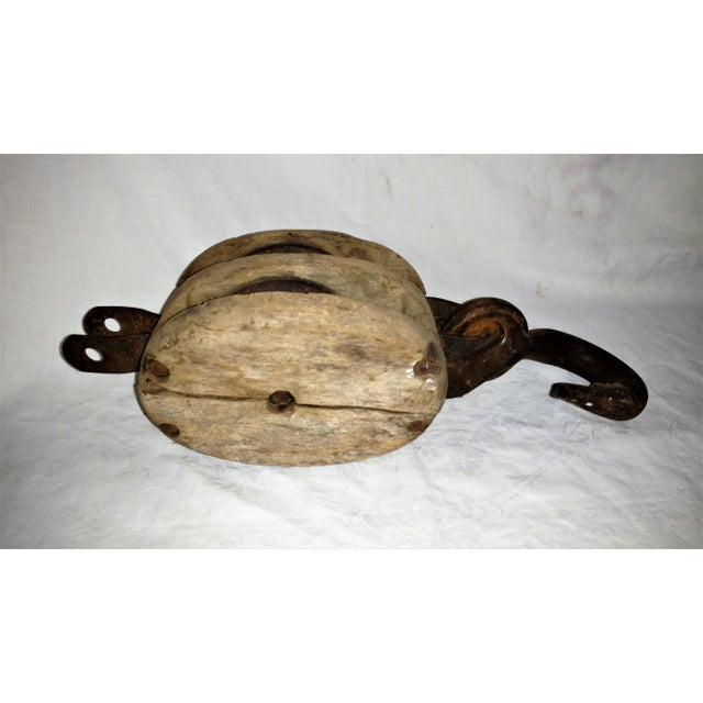 Antique Double Pulley Block and Tackle For Sale - Image 5 of 9
