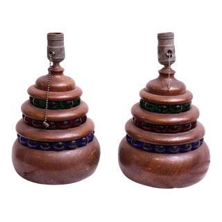 Modern Wooden Table Lamps With Multi Color Beads - a Pair For Sale