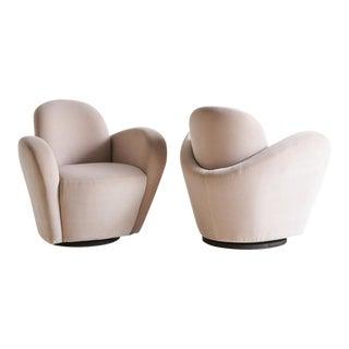 Wraparound Swivel Chairs Attributed to Vladimir Kagan For Sale