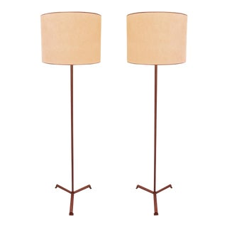 Jacques Adnet Brown Hand-Stitched Leather Pair of Standing Lamps Tripod Base For Sale
