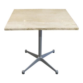 Eames Aluminum Group Table With Travertine Top For Sale