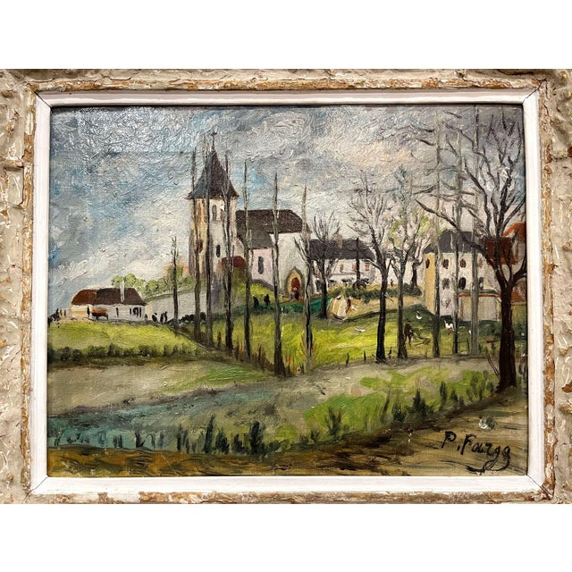 Painted on canvas and dressed on in the original carved gilt frame, the artwork depict a pastoral and landscape scene with...