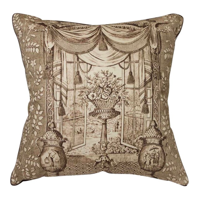 Chinoiserie Ming Urn Print Pillow For Sale