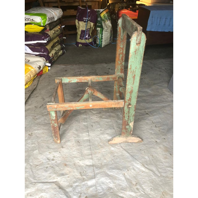 Rustic Distressed Country Washing Barrel Tub and Stand For Sale - Image 3 of 13