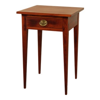 Hepplewhite Style Antique Cherry One Drawer Side Table For Sale