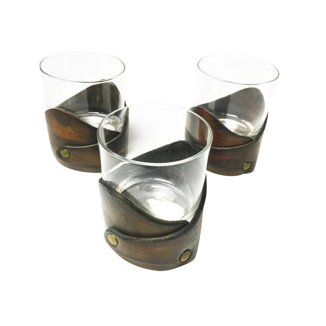Vintage Leather Wrapped Drinking Glasses- Set of 3 For Sale