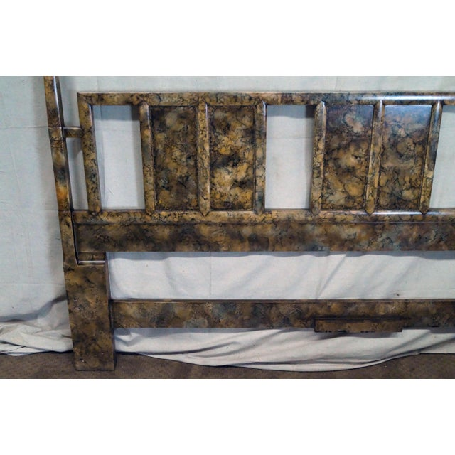 Henredon Mid Century Faux Tortoise Shell Painted King Size Poster Headboard - Image 6 of 10