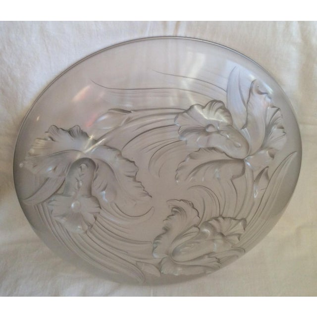 1930s Antique Frosted Glass Platter For Sale - Image 5 of 5