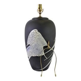 1960s Black N White Lava Glaze Pottery Table Lamp For Sale