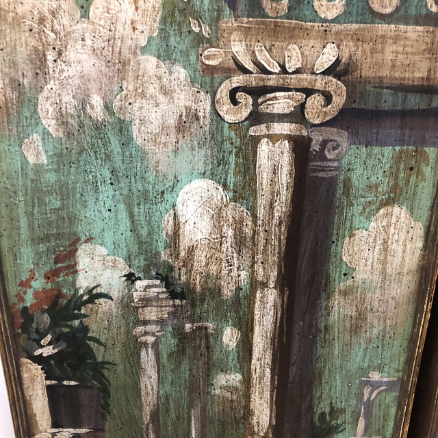 Vintage Mid Century Hand Painted Classical Ruins Panels- A Pair For Sale - Image 4 of 10