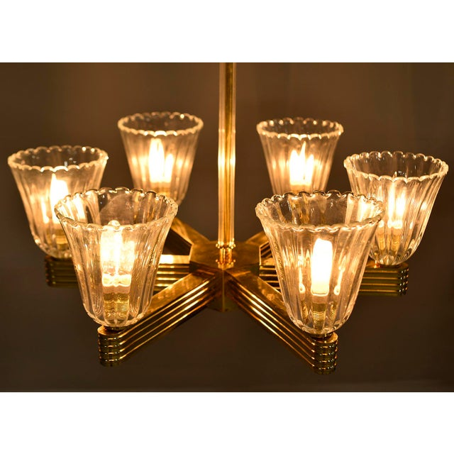 Ercole Barovier and Toso Six Light Brass Chandeliers - a Pair For Sale - Image 12 of 13