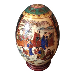 Chinoiserie Ceramic Egg on Wooden Stand