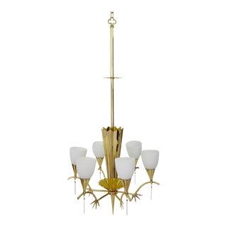 1940s Italian Guglielmo Ulrich Brass Chandelier With Decorative Spikes For Sale