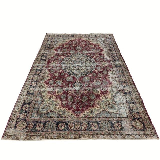 Distressed Turkish Carpet   7'1 X 10'8 For Sale - Image 6 of 6