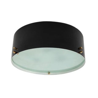 1960s Italian Black & Glass Flush Mount in the Manner of Bruno Gatta For Sale