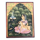 Image of Antique Indian Asian Folk Art Paint Decorated Wood Box For Sale