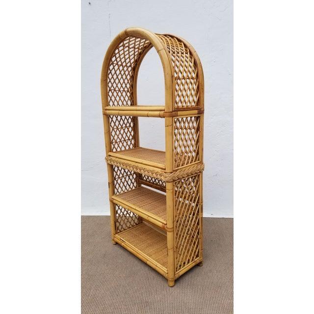 1980s Vintage Boho Chic Bamboo Rattan Etagere Bookshelf For Sale - Image 5 of 10