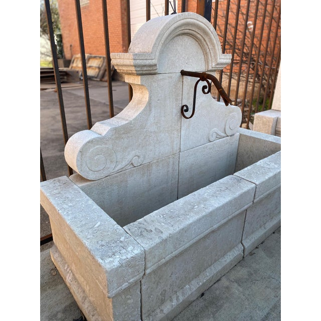 French Hand-Carved Limestone Wall Fountain For Sale - Image 3 of 5