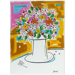 "Acrylic on Canvas of a Floral Still Life Titled ""Love"" by Garmed For Sale"